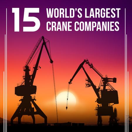 Large Cranes in Sunset Instagram – шаблон для дизайна