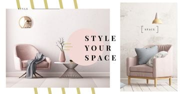 Cozy Modern Interior in Pink | Facebook Ad Template