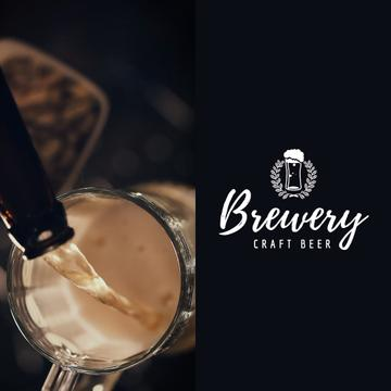 Brewery Ad with Beer Pouring in Mug Animation