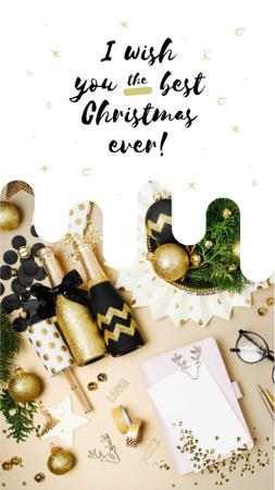 Template di design Christmas decor and champagne bottles Instagram Story