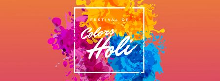 Indian Holi Festival Colorful Frame Facebook Video cover Design Template