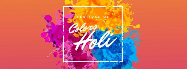 Designvorlage Indian Holi Festival Colorful Frame für Facebook Video cover