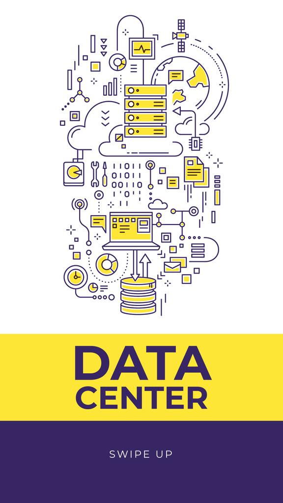 Data Center with computer icons — Crear un diseño