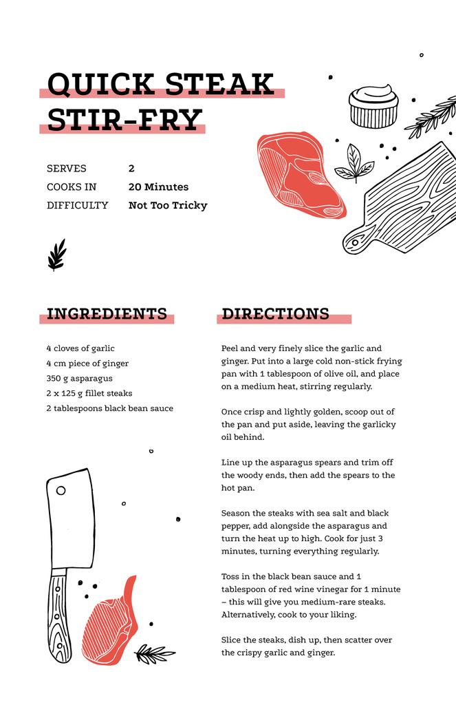 Plantilla de diseño de Quick Steak with Meat illustration Recipe Card