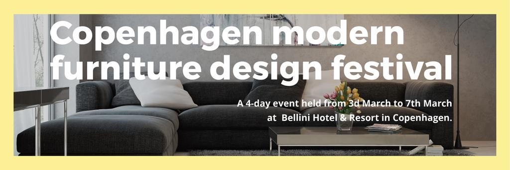 Interior Decoration Event Announcement Sofa in Grey | Twitter Header Template — Crear un diseño