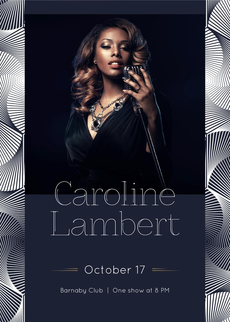 Concert Announcement Woman Singing by Microphone | Flyer Template — Створити дизайн