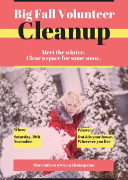 Dig fall volunteer cleanup flyer with woman removing snow