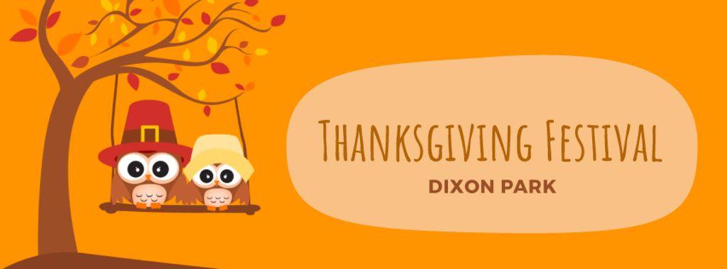 Thanksgiving Owls swinging on autumn tree — Modelo de projeto