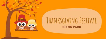 Plantilla de diseño de Thanksgiving Owls swinging on autumn tree Facebook Video cover