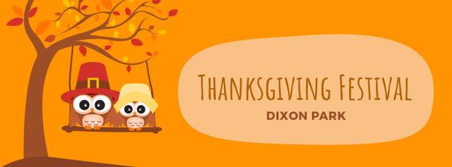 Designvorlage Thanksgiving Owls swinging on autumn tree für Facebook Video cover