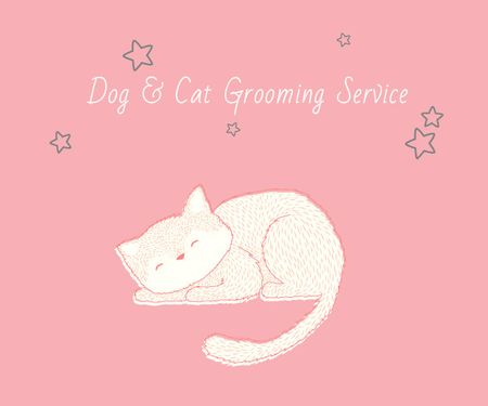 Designvorlage Dog & Cat Grooming Service für Medium Rectangle