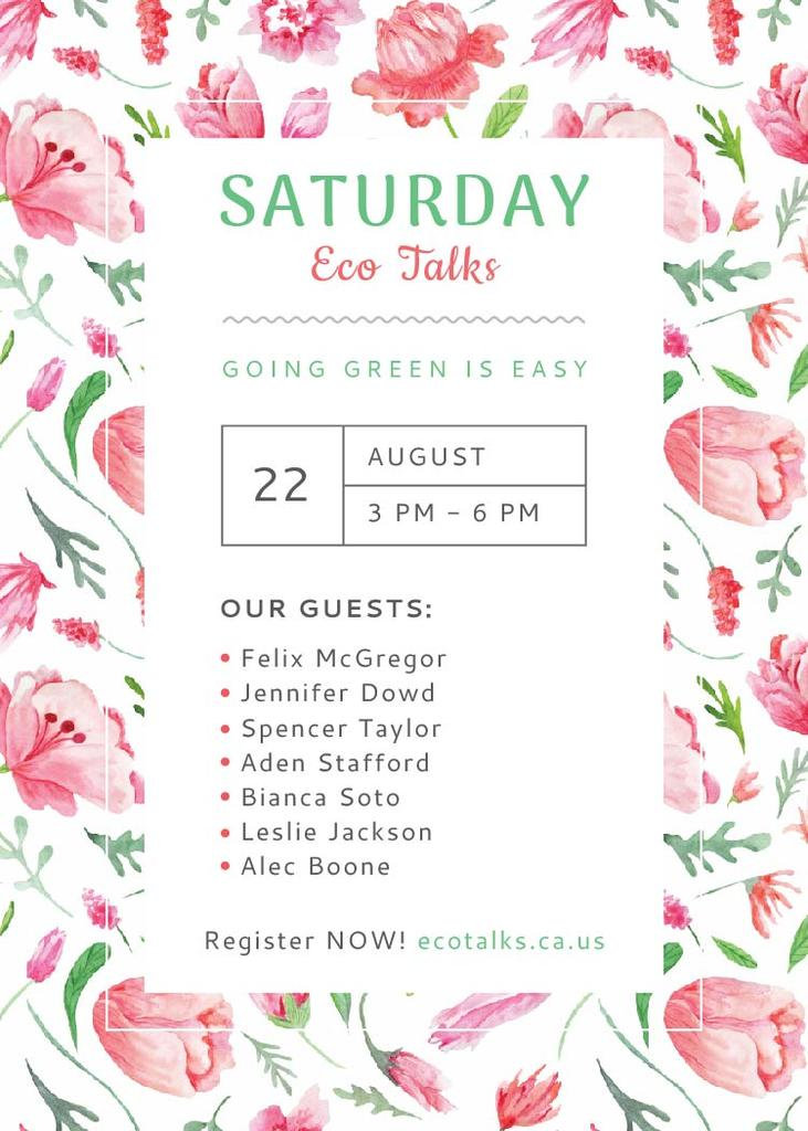 Ecological Event Watercolor Flowers Pattern Invitation Design Template