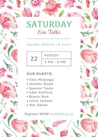 Szablon projektu Ecological Event Watercolor Flowers Pattern Invitation