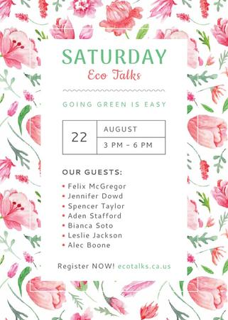 Ecological Event Watercolor Flowers Pattern Invitation Tasarım Şablonu