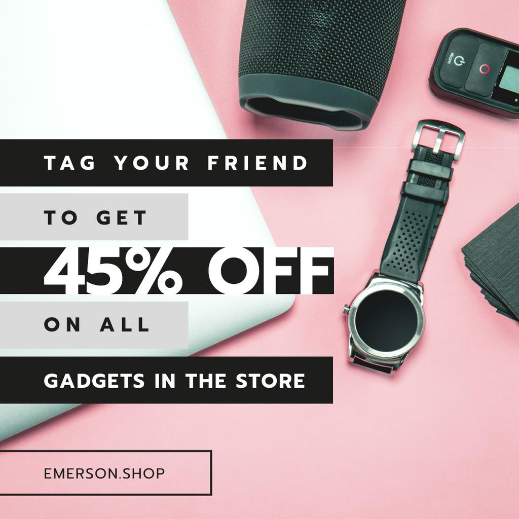Gadgets Sale Digital Devices on Working Table | Instagram Post Template — Створити дизайн