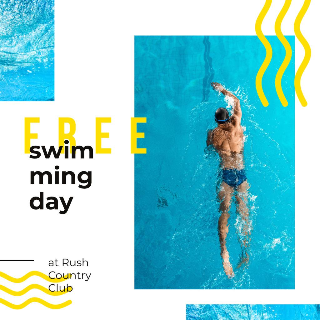 Swimming Pool Offer Man in Water Instagram AD – шаблон для дизайну