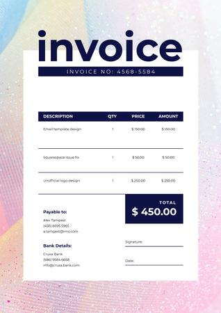 Plantilla de diseño de Design Services in Bright Colourful Frame Invoice