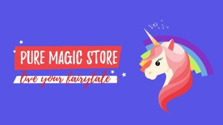 Designvorlage Unicorn with Bright Rainbow für Full HD video