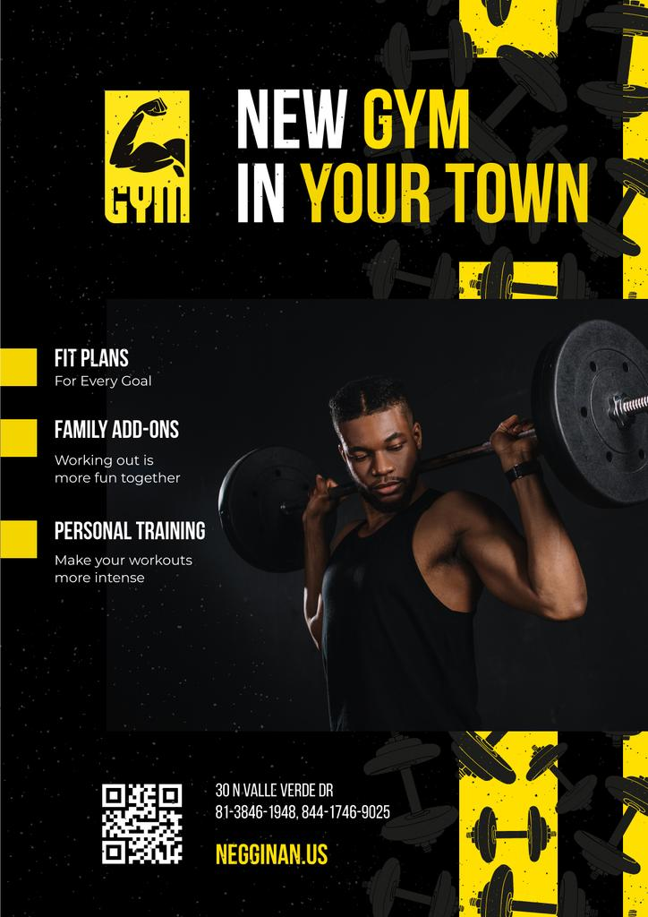 Gym Promotion with Man Lifting Barbell — Crear un diseño