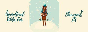 Horse drinking coffee in winter