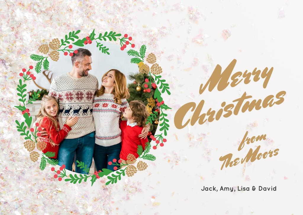 Merry Christmas Greeting Family by Fir Tree — Modelo de projeto