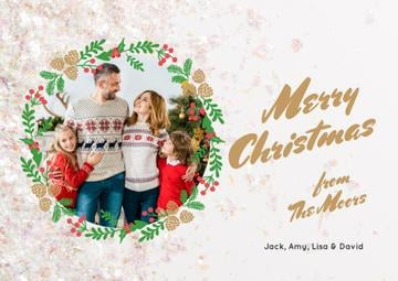Merry Christmas Greeting Family by Fir Tree | Card Template