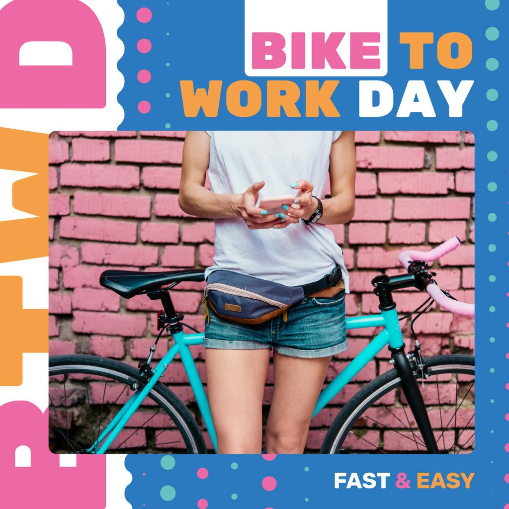 Girl with bicycle in city on Bike to work Day — Crear un diseño