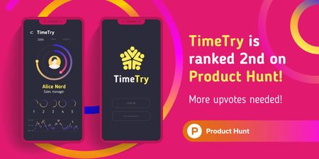 Product Hunt Application with Stats on Screen Twitter – шаблон для дизайна