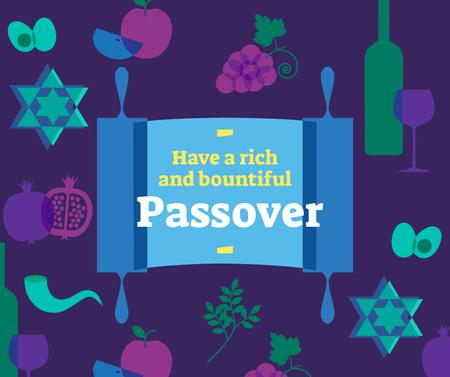 Ontwerpsjabloon van Facebook van Happy Passover holiday attributes