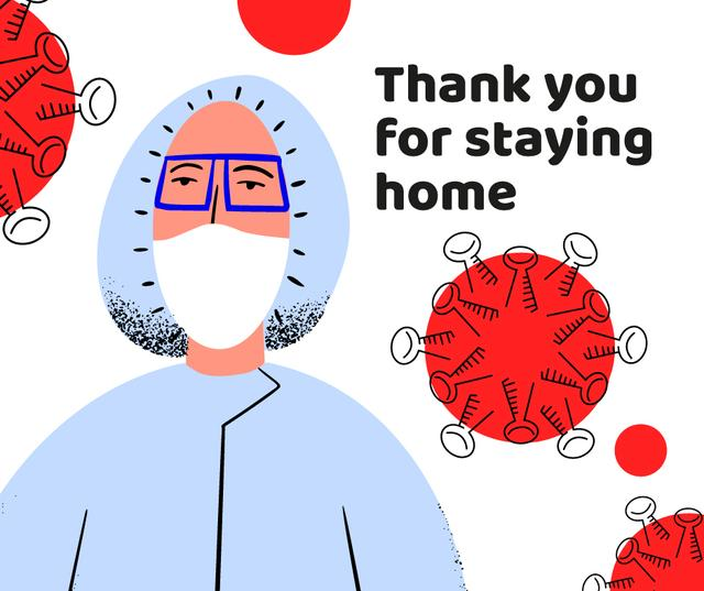 #Stayhome Coronavirus awareness with Doctor in protective suit Facebook – шаблон для дизайну