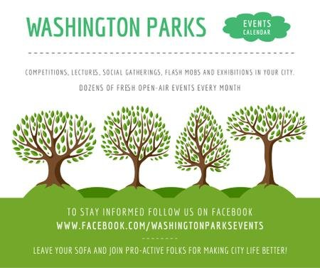 Plantilla de diseño de Park Event Announcement Green Trees Facebook