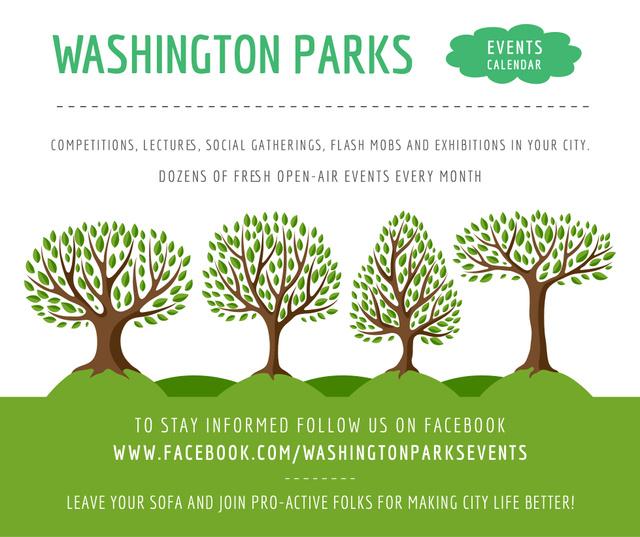 Plantilla de diseño de Park Event Announcement Green Trees Facebook