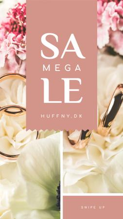 Plantilla de diseño de Wedding Offer Rings on Flower Instagram Story