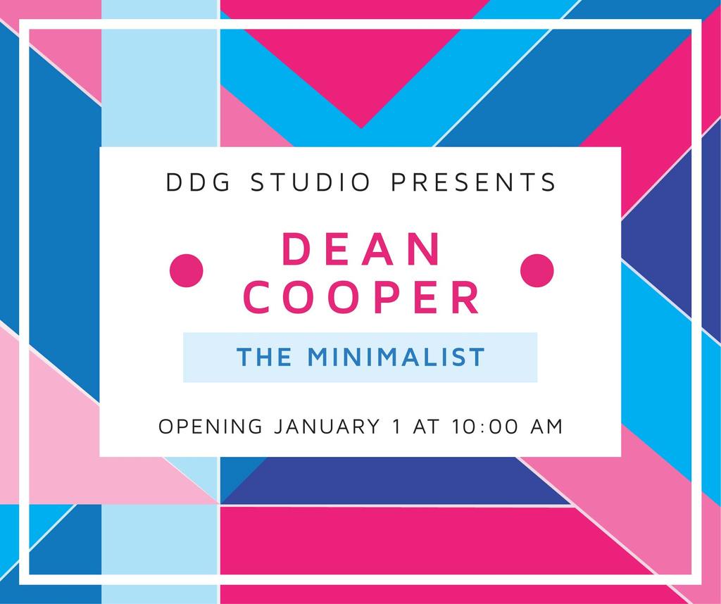 Art Exhibition announcement on colorful Stripes Facebook Modelo de Design