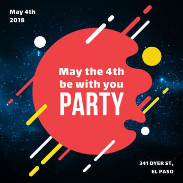 Star Wars Day party invitation on space background