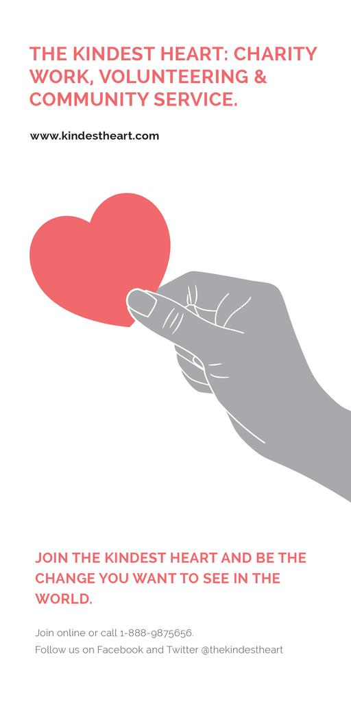Charity event Hand holding Heart in Red — Crear un diseño