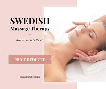 Swedish Massage Therapy Offer Woman at Face Massage | Facebook Post Template