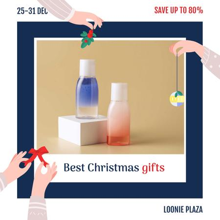 Plantilla de diseño de Christmas Sale Skincare Products Bottles Instagram