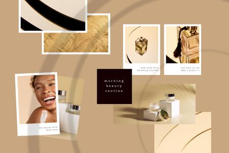Woman using Skincare products and Perfume Mood Board Modelo de Design