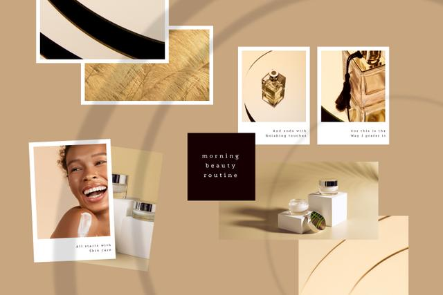 Szablon projektu Woman using Skincare products and Perfume Mood Board