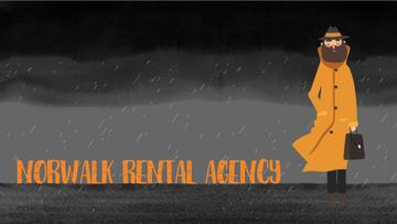 Rental Agency Ad Man Waiting Under Rain
