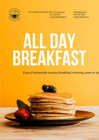 Breakfast Offer with Sweet Pancakes in Orange Poster – шаблон для дизайна