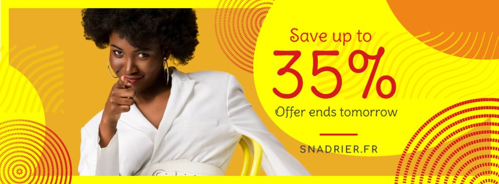Sale Offer Young Woman Pointing in Yellow   Facebook Cover Template — Створити дизайн