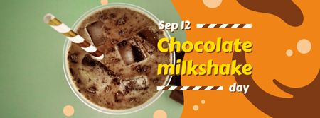 Sweet chocolate milkshake Day Facebook cover Modelo de Design