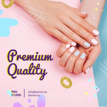 Beauty Salon Ad Manicured Hands in Pink | Square Video Template