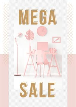 Sale Announcement Computer on Working Table in Pink