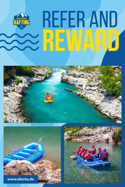 Szablon projektu Rafting Tour Invitation with People in Boat Pinterest