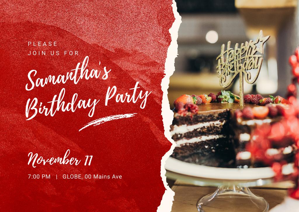 Szablon projektu Chocolate birthday cake Card
