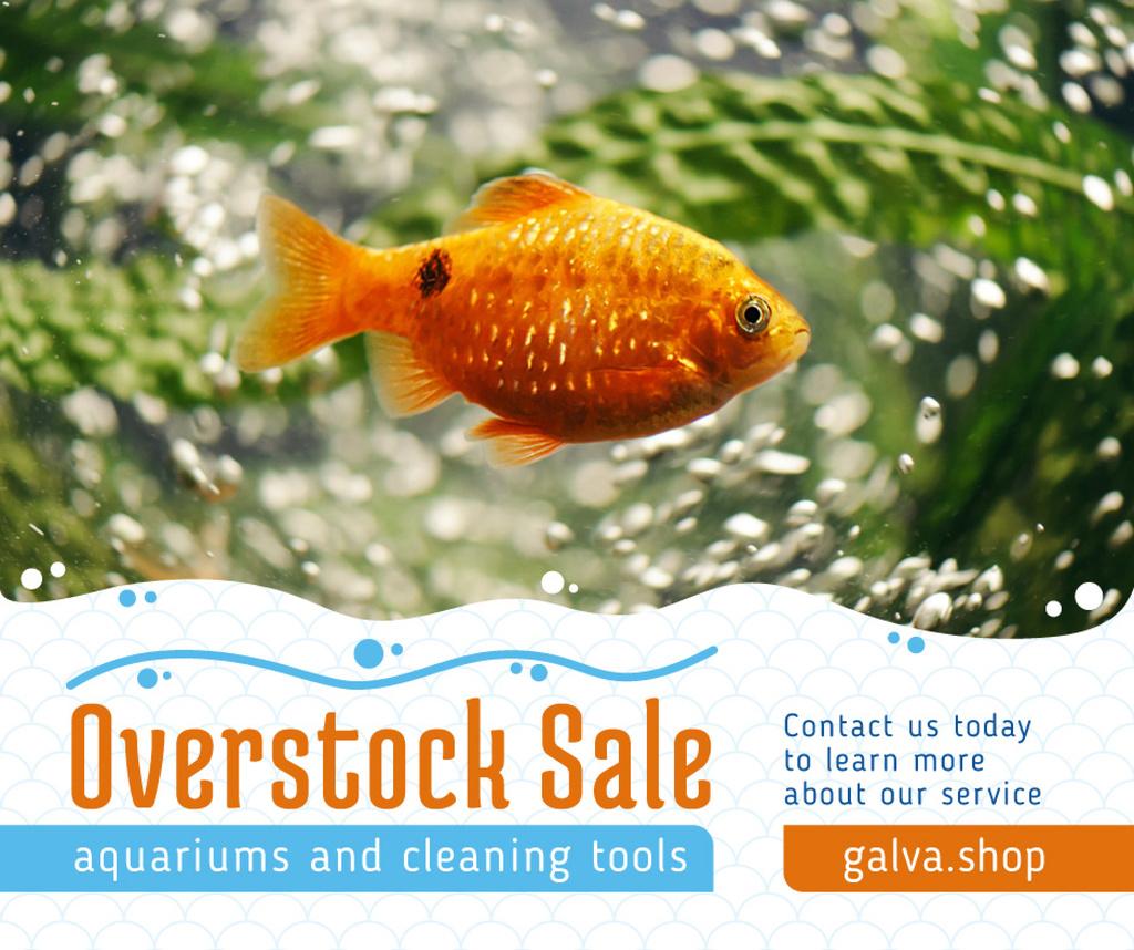 Golden Fish Swimming Underwater Facebook – шаблон для дизайну