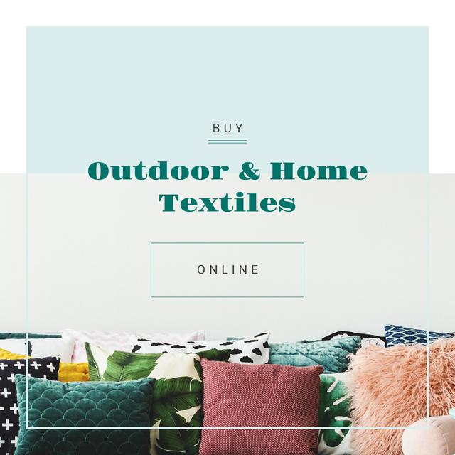 Soft pillows on sofa Instagram Tasarım Şablonu